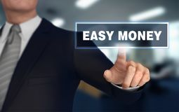 Easy money   pushing concept 3d illustration. Easy money      with finger pushing concept 3d illustration Royalty Free Stock Images