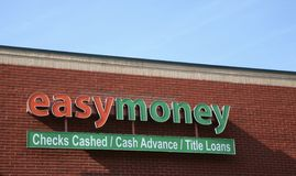 Easy Money Loan Shop. Easy Money provides title, check cashing and cash advance services Stock Photos