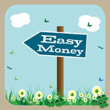 Easy money signpost. Abstract colorful background with a blue signpost with the text easy money standing in the middle of a green field with flowers Royalty Free Stock Image