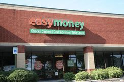 Easy Money Store Front. Easy Money provides title, check cashing and cash advance services Stock Images