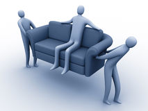 Easy moving. 3d people carring another 3d person sitting on a sofa royalty free illustration
