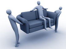 Easy moving. 3d people carrying another 3d person sitting on a sofa royalty free illustration
