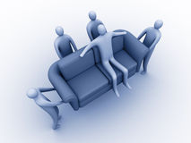 Easy moving. 3d people carrying another 3d person sitting on a sofa stock illustration