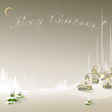 Easy New Year's background. With the village and fir-trees. A vector Royalty Free Stock Photo