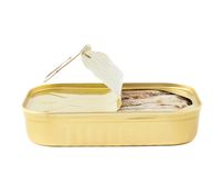 Easy open sardine can with the pull tab Stock Images