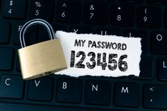 Easy Password concept. My password 123456. Written on a paper. Locked padlock on computer keyboard stock images