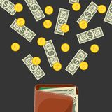 Easy payment poster with money. Easy payment poster with paper banknotes and golden coins falling in to leather wallet. Big cash income and financial success Royalty Free Stock Photography