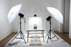Easy photo studio with two lights Royalty Free Stock Photography