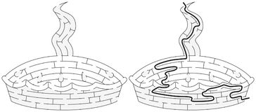 Easy pie maze. For younger kids with a solution in black and white Royalty Free Stock Image