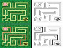 Easy piglet maze. For younger kids with a solution in color and black and white Royalty Free Stock Photos