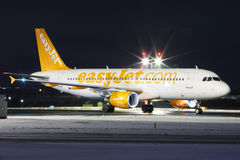 Easy. PRAGUE, CZECH REPUBLIC - JANUARY 6: EasyJet Airline Airbus A319 ready for take off PRG Airport on January 7, 2016. EasyJet is the second-largest low-cost Stock Photos