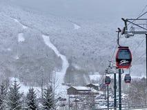 Free Easy Ride Gondola Line At Stowe Mountain Resort Spruce Peak Village At Evening Time Stock Photo - 206792870