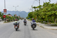 Easy Riders, Vietnam. Tourists on motorbikes with easy riders who bring them by motorbike from one destination to another in Vietnam. The easy riders are very Stock Photography