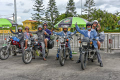 Easy Riders, Vietnam. Tourists on motorbikes with easy riders who bring them by motorbike from one destination to another in Vietnam. The easy riders are very Royalty Free Stock Photos
