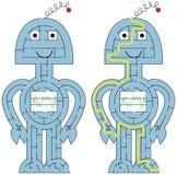 Easy robot maze vector illustration