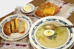 Easy Russian food: meat broth with peasant bread Stock Photos