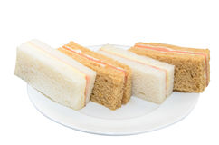Easy sandwich on white disc isolated Royalty Free Stock Photos