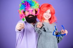 Easy simple ways be fun playful parent. How crazy is your father. Man bearded father and girl wear colorful wig while. Eat lollipop candy. Thing loving father royalty free stock images