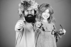 Easy simple ways be fun playful parent. How crazy is your father. Man bearded father and girl wear colorful wig while. Eat lollipop candy. Thing loving father stock image