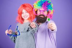 Easy simple ways be fun playful parent. How crazy is your father. Man bearded father and girl wear colorful wig while stock photo