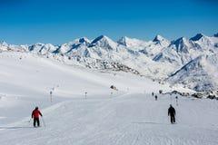 Easy ski slope. Easy blue ski slope at the Austrian ski resort Soelden Stock Photos