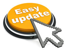 Easy software update. Easy update button on white background, with a mouse arrow cursor trying to click it, yellow button Royalty Free Stock Photos