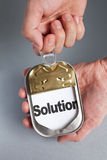 Easy Solution. Can and word Solution, Concept of Easy Solution stock photography