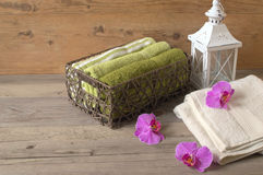 Easy and soothing atmosphere of relax. Relax in the spa centre. Natural aroma oil and cotton towels. Easy and soothing atmosphere of relax Stock Images