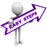 Easy steps. Easy DIY steps or do it yourself, man holding arrow and pointing to right hand side, white background Royalty Free Stock Photography