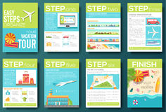 Easy steps organize for your vacation tour flyer with infographics and placed text. Illustrated guide travel background Royalty Free Stock Photography