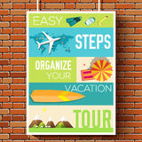 Easy steps organize for your vacation tour flyer with infographics and placed text. Illustrated guide travel background Stock Photo