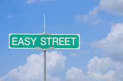 Easy Street sign with blue sky background Royalty Free Stock Images