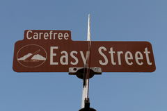 Easy Street Sign. The sign for Easy Street in Carefree, Arizona is photographed against a blue sky Stock Photos