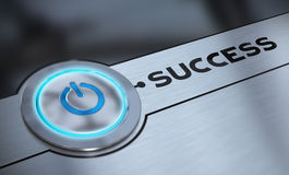 Easy Success and Aiming. Success push button with blue tone over aluminum background blur effect, 3D render Stock Image
