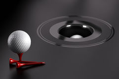 Easy Success, Attainable Objectives. Easy success or attainable objectives. Golf ball and red tee over black background with a hole Royalty Free Stock Photos