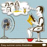 Easy summer comic illustration Stock Photography