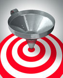 Easy target. A funnel help to center the target - business concept Royalty Free Stock Photo