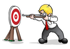 Easy target. A  businessman holding gun aim on red and white target to illustrate marketing action Stock Photography