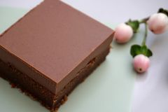 Easy and tasty soft chocolate fudge made from natural ingredients. Chocolatey and tasty soft chocolate fudge made from natural ingredients and gluten free cake stock photos