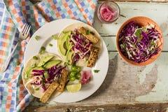 Tofu Tacos with Coleslaw Salad stock photos