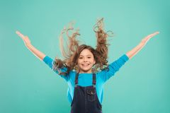 Easy tips making hairstyle for kids. Small child long hair. Girl active kid with long gorgeous hair. Extra fresh dry. Shampoo. Fresh it up. Strong and healthy stock image