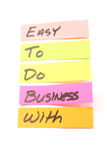 Easy to do business with sticky notes Stock Photo