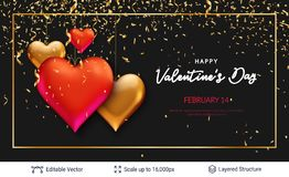 3D hearts and luxurious golden frame on black. Easy to edit vector background. Holiday greeting card design Royalty Free Stock Photos