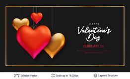3D hearts and luxurious golden frame on black. Easy to edit vector background. Holiday greeting card design Royalty Free Stock Photo