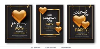 3D hearts and luxurious golden frame on black. Easy to edit vector backgrounds set. Holiday greeting card design Royalty Free Stock Image