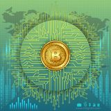 Bitcoin on hi-tech cryptocurrency digital currency with encryption techniques financial background Royalty Free Stock Photo
