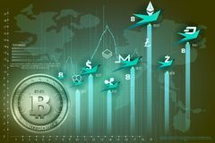 Bitcoin on hi-tech cryptocurrency digital currency with encryption techniques financial background Royalty Free Stock Photos