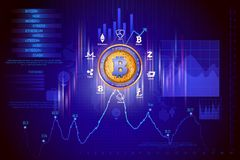 Bitcoin on hi-tech cryptocurrency digital currency with encryption techniques financial background Royalty Free Stock Photography