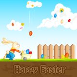 Bunny catching Easter Egg. Easy to edit vector illustration of bunny catching falling Easter egg royalty free illustration
