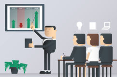 Easy to edit vector illustration of business presentation class, businessman pointing at a board Stock Photos